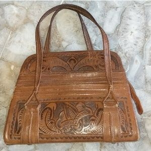 Vintage Flores' Leather Hand Tooled Handbag
